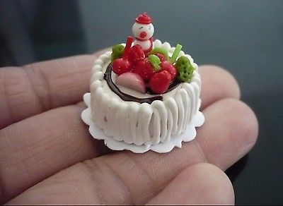 2 Christmas Cake Dollhouse Miniature Food Bakery Holiday X/'mas