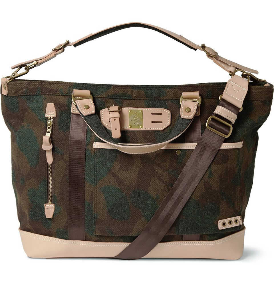 Master-Piece - Leather-Trimmed Camouflage Wool-Blend Tote Bag | MR PORTER
