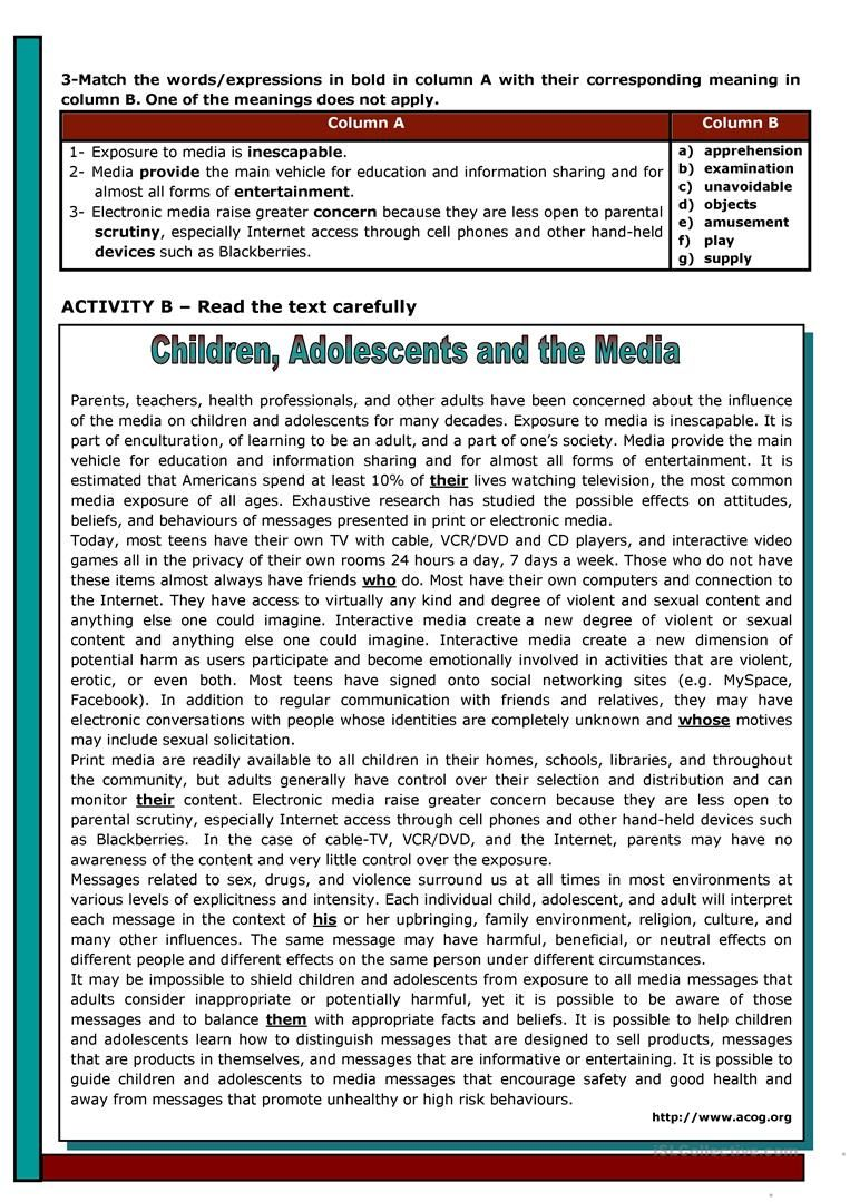 Children Adolescents And The Media Worksheet Free Esl Printable W Reading Comprehension Lessons Elementary Reading Comprehension Reading Comprehension Texts [ 1079 x 763 Pixel ]
