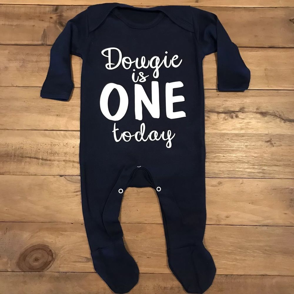 Details about Boys 1st Birthday Sleepsuit Outfit