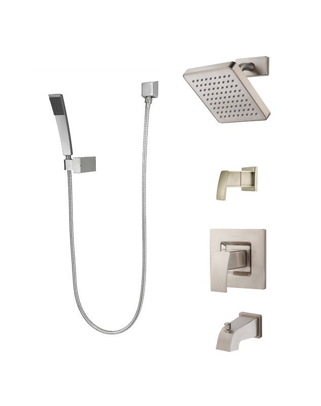Pfister T89-8DF Kenzo Shower System with Valve Trim Shower Head Hand ...