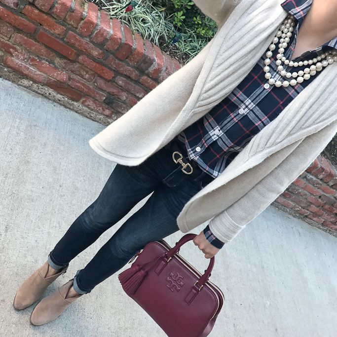 Shawl collar cardigan, plaid shirt, reversible ferragamo belt dupe, petite skinny ankle jeans, franell ankle booties, burgundy tote satchel, faux triple strand pearls, casual fall outfit, winter outfit, preppy- click the photo for outfit details!