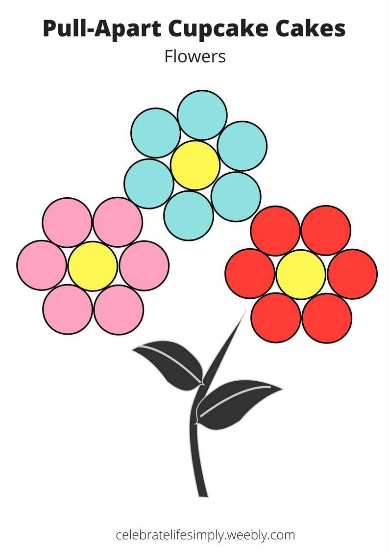 Flowers Pull-Apart Cupcake Cake Templates   Food ideas   Pinterest ...