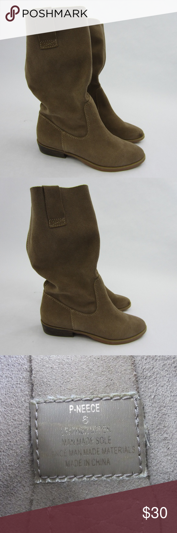 Steve Madden Leather Slouchy Low Heel Boot *S10