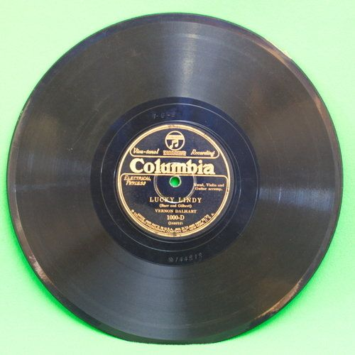 1927 Columbia Black Label Shellac 78 RPM Record, Lucky Lindy PlayRated VG-