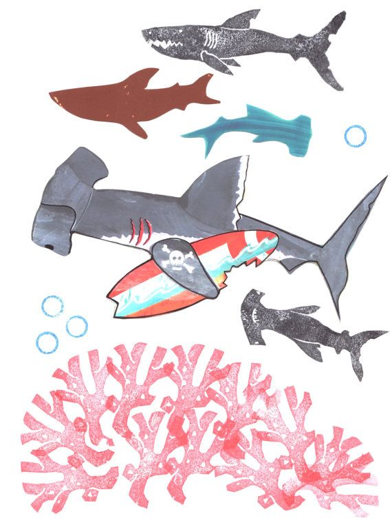Hammerhead Shark Surfer Art Print. Beach Decor Surf by MangoSeed