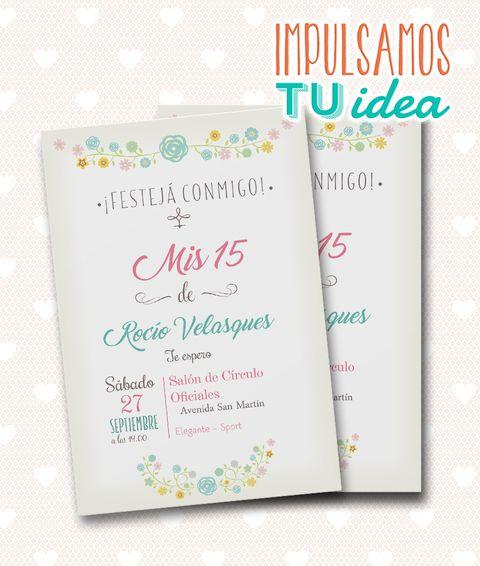 Invitación De Quince Tarjeta De 15 Para Imprimir Flores