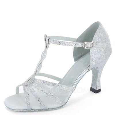 US$ 47.00] Women's Sparkling Glitter Heels Sandals Latin