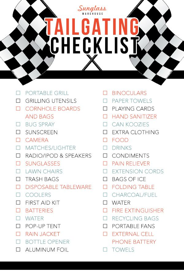 Printable Indy 500 Tailgating Checklist Tailgating Nascar And