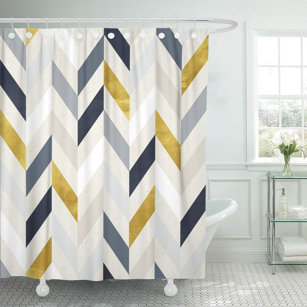 Photo of PKNMT Blue Gold Geometric Pattern on Navy Herringbone Vintage Subtle Polyester Shower Curtain 60×72 inches