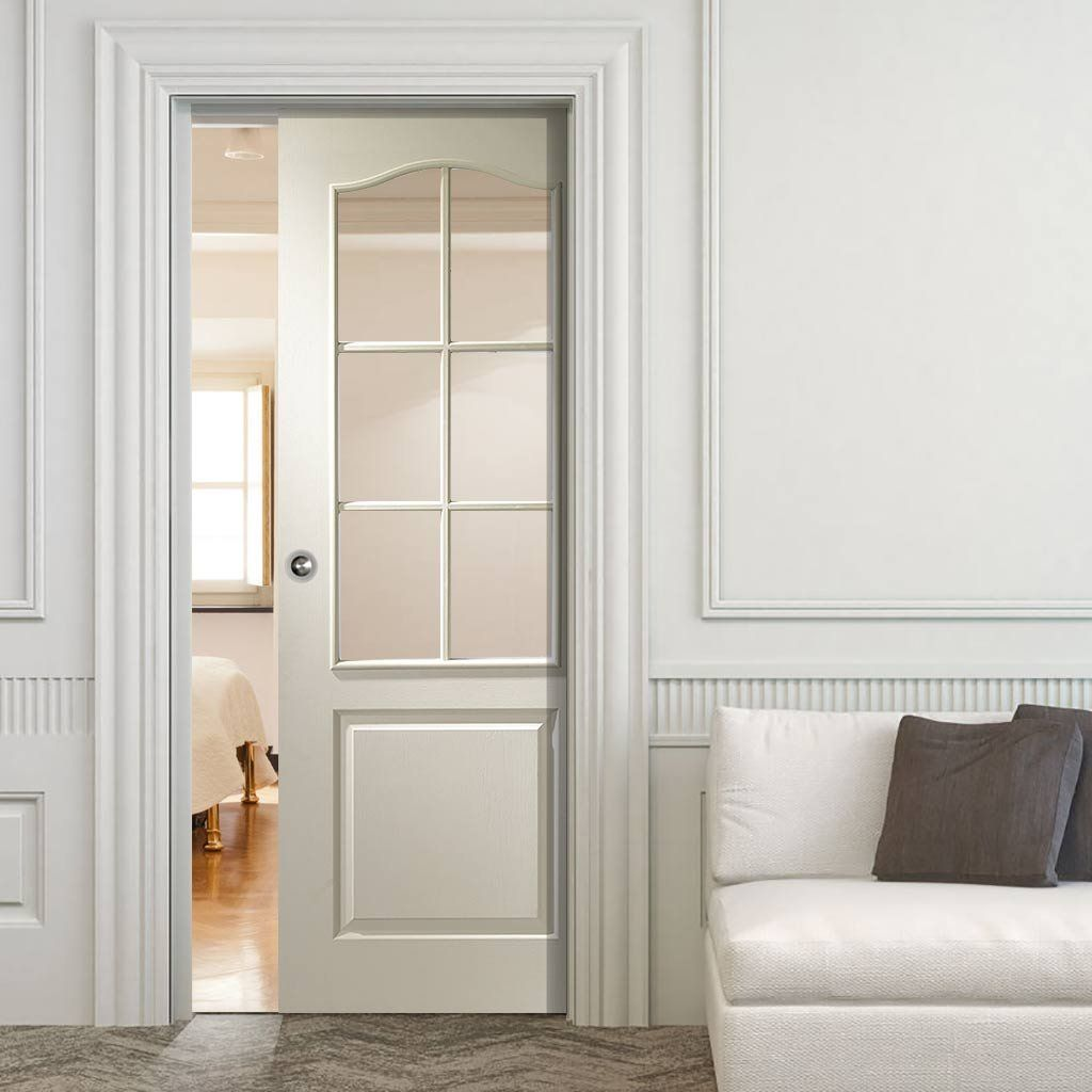 Single Pocket Doors Glass classique white single pocket door - clear glass | sliding door