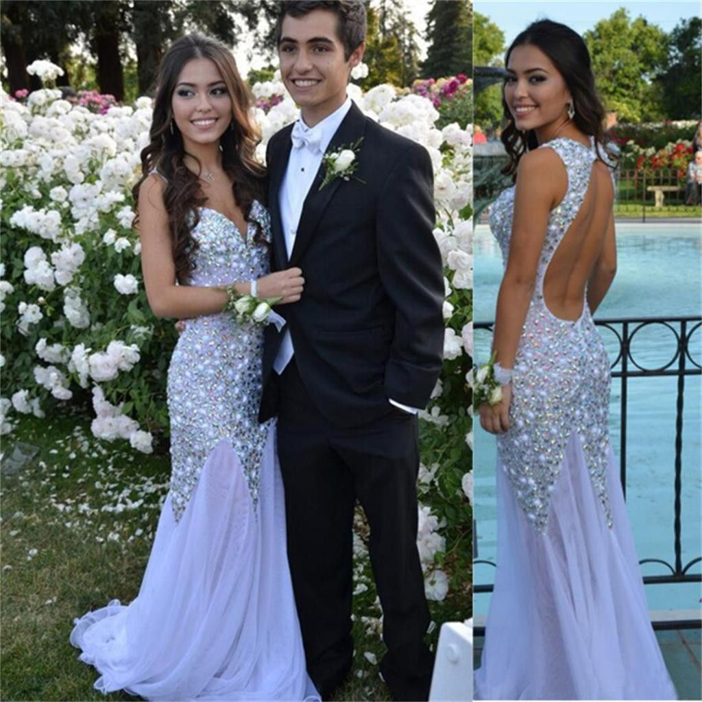 Long white sparkly charming backless sexy evening party prom dress