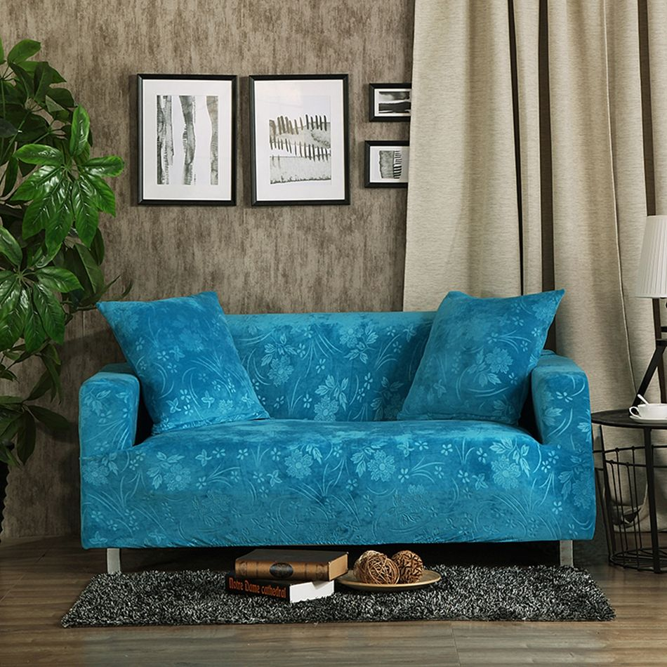 Usd blue embossing couch sofa covers polyester stretch
