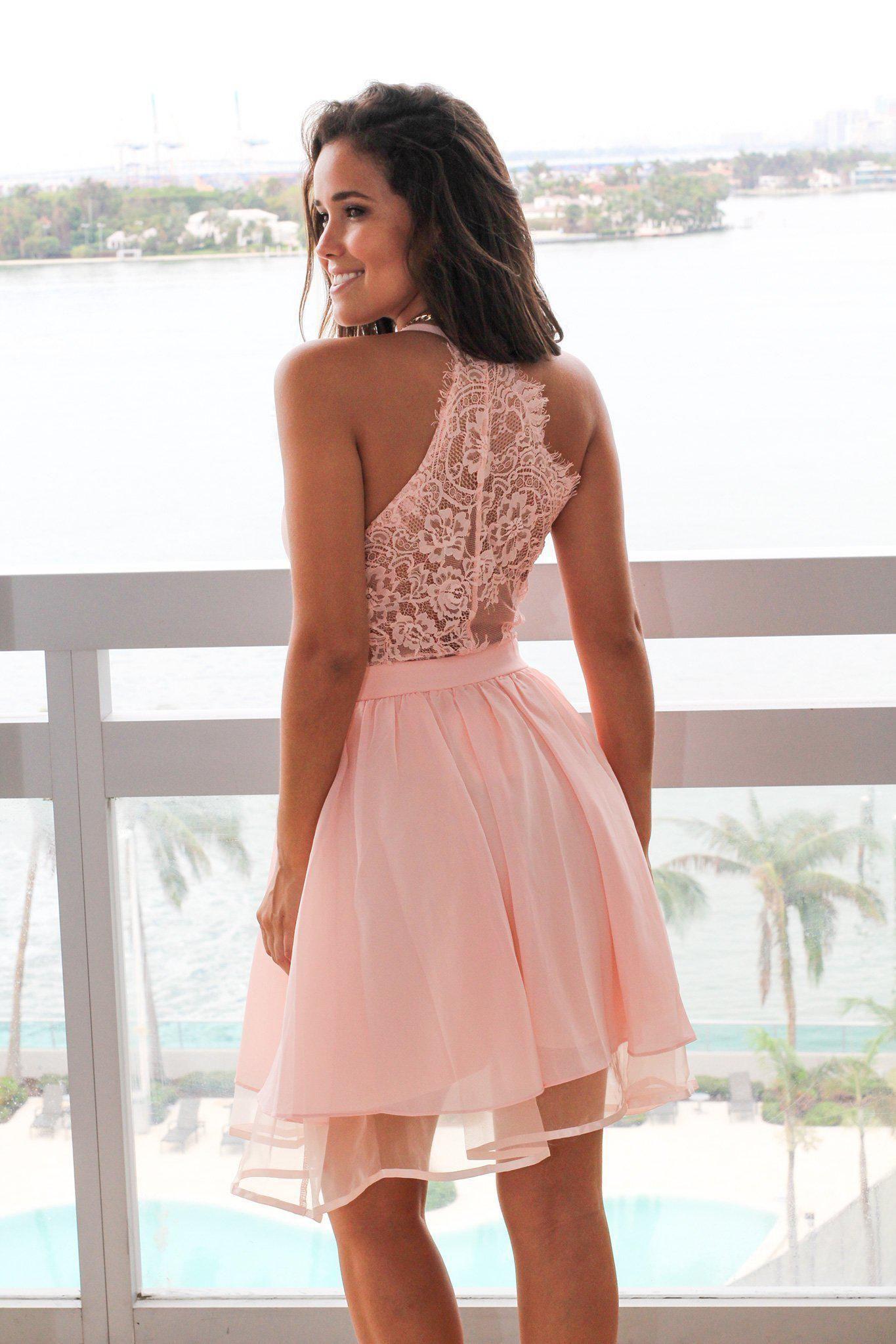 Pink short dress with lace back g e t t h e l o o k