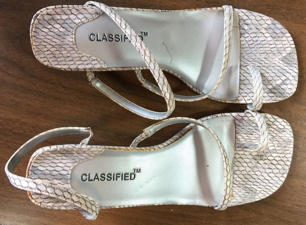 9f69ba5fe380 Classified Womens Size 7 White Circles Thong Slingback Sandal High Heels   fashion  clothing