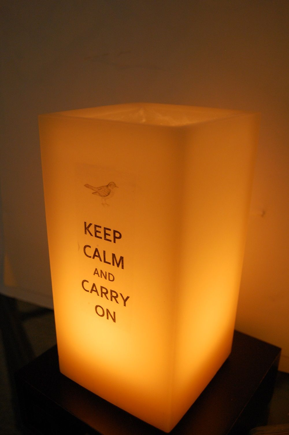 """Medium Tower in """"Honey"""" lit....lite your message with a candle. More Than Candles www.morethancandlesshop.com"""