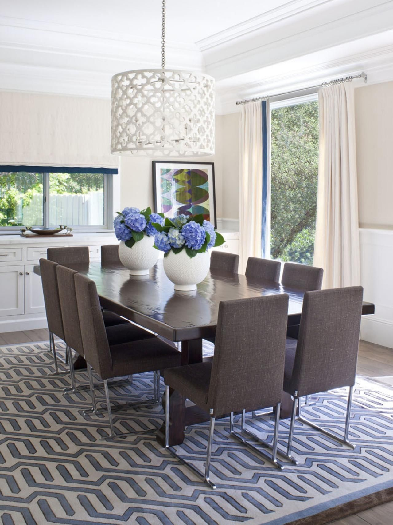 Contemporary Pendant Lighting For Dining Room Endearing Ten Brown Upholstered Chairs Add A Lively Fun Note To This Design Decoration