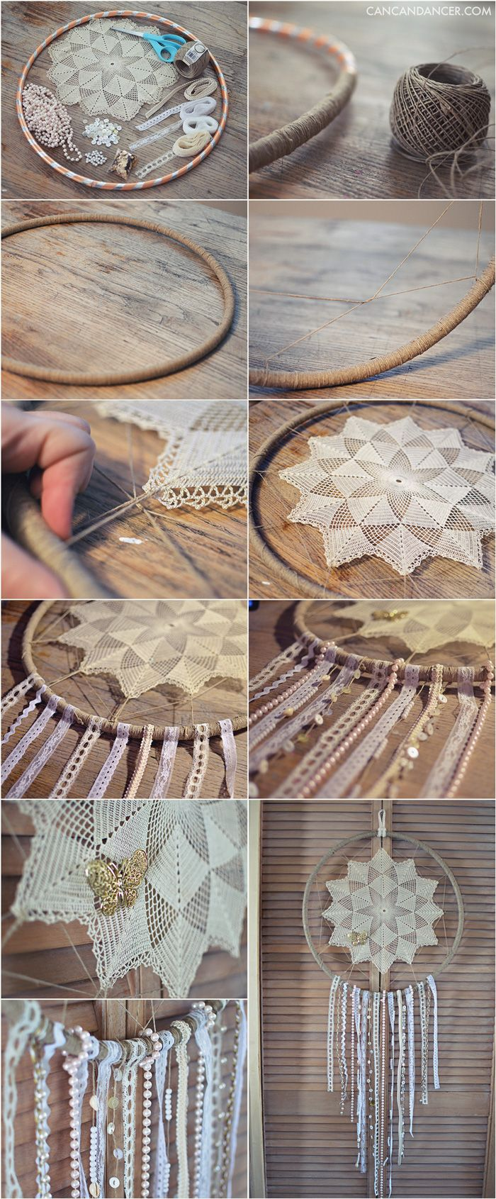 DIY instructions to make an oversized dreamcatcher