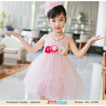 Graceful Rose Designer Birthday Party Net Outfit For Indian Kids