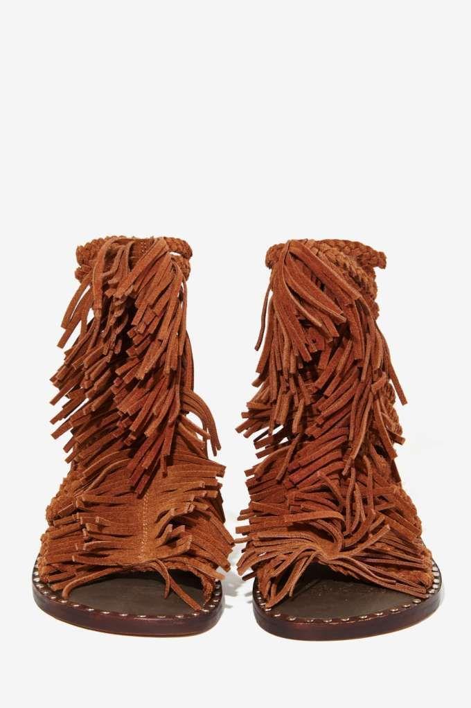 1eb07992f9d6 Jeffrey Campbell Santana Suede Fringe Sandal - Shoes
