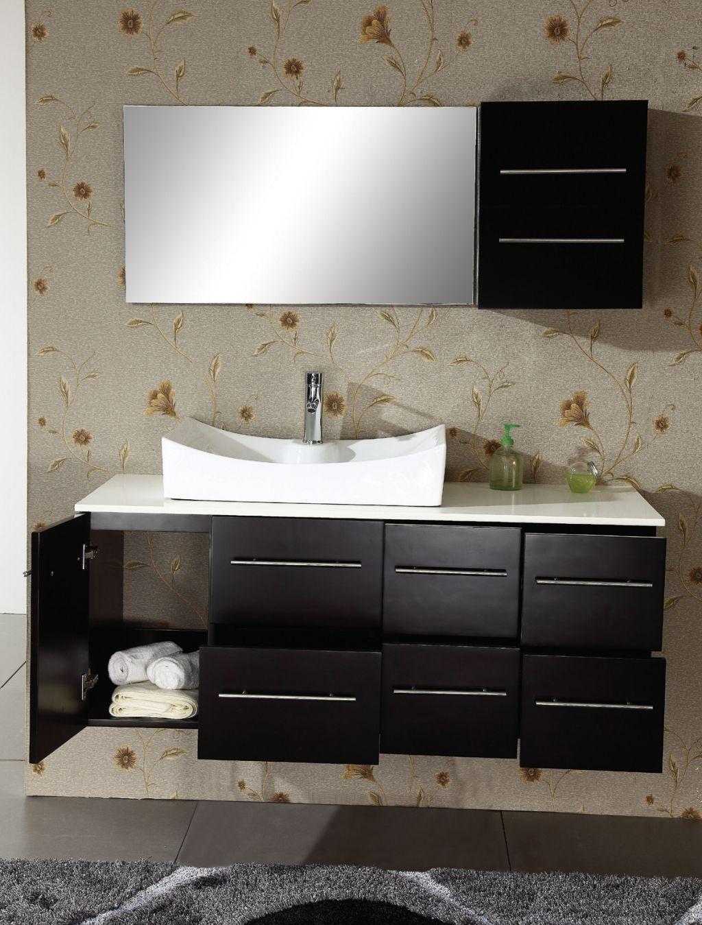 Bathroom awesome bathroom sink design on black teak wooden washing