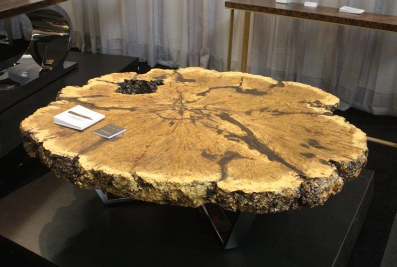 Sliced Wood Coffee Table With Chromed Base