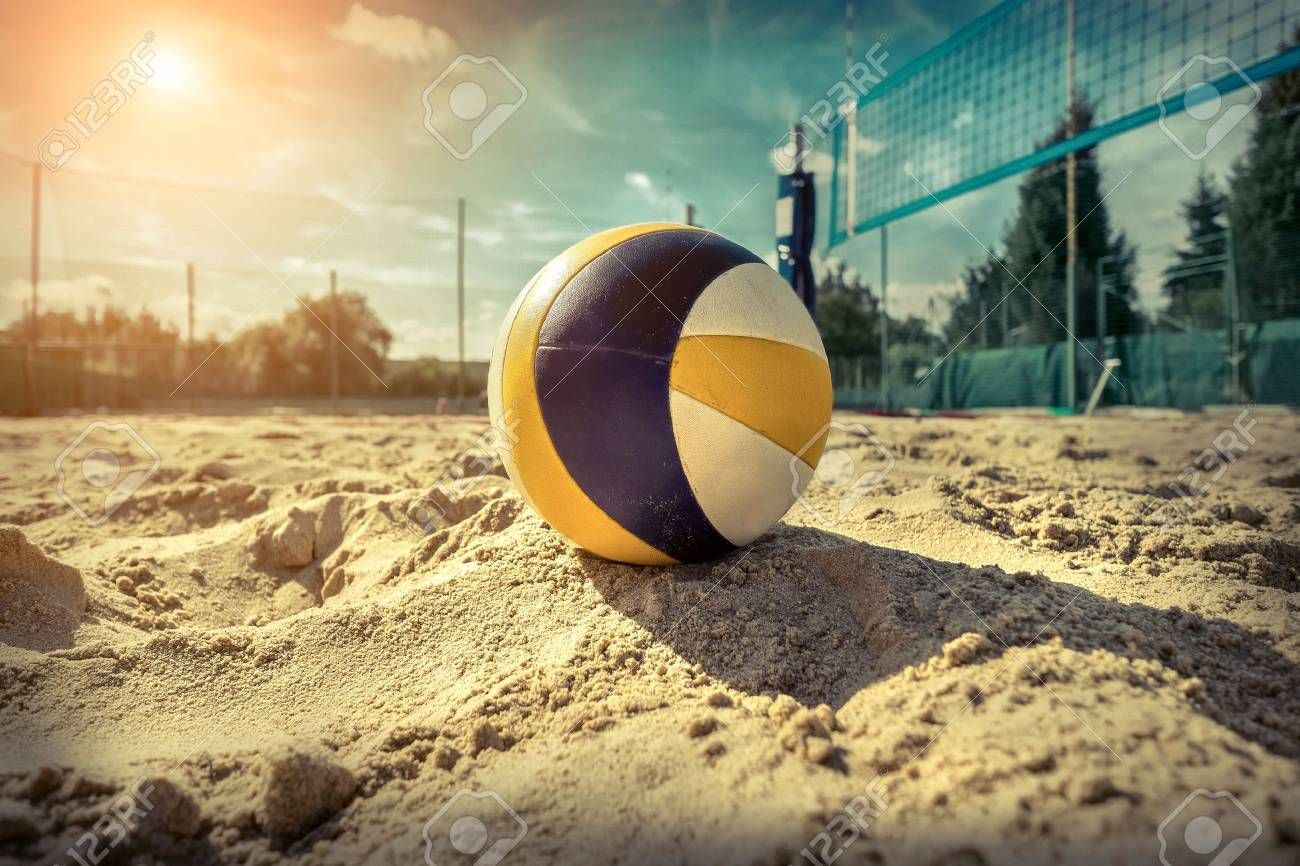 Beach Volleyball Game Ball Under Sunlight And Blue Sky Aff Game Volleyball Beach Ball Sky Beach Volleyball Ball Exercises Beach