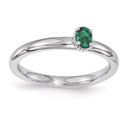 Bonyak Jewelry Sterling Silver Band for 7x5 mm Emerald Ring