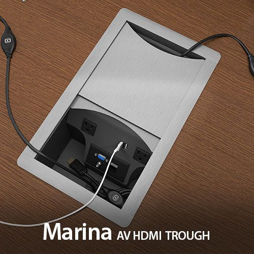 Marina AV HDMI Power Data Trough For Collaborative Conference Tables - Conference table cable management box