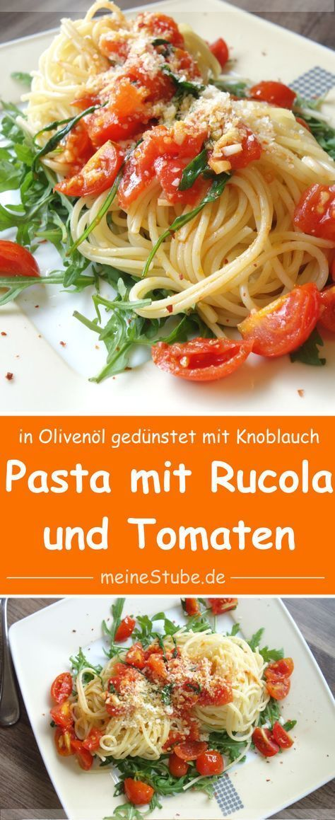 Delicious pasta on rocket with tomatoes and garlic -  Delicious pasta on rocket with tomatoes and g