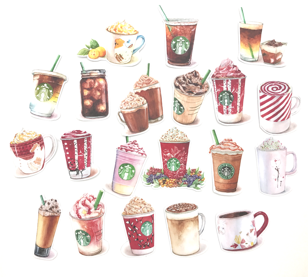 Starbucks Coffee Stickers (17 pieces) Set D (Christmas