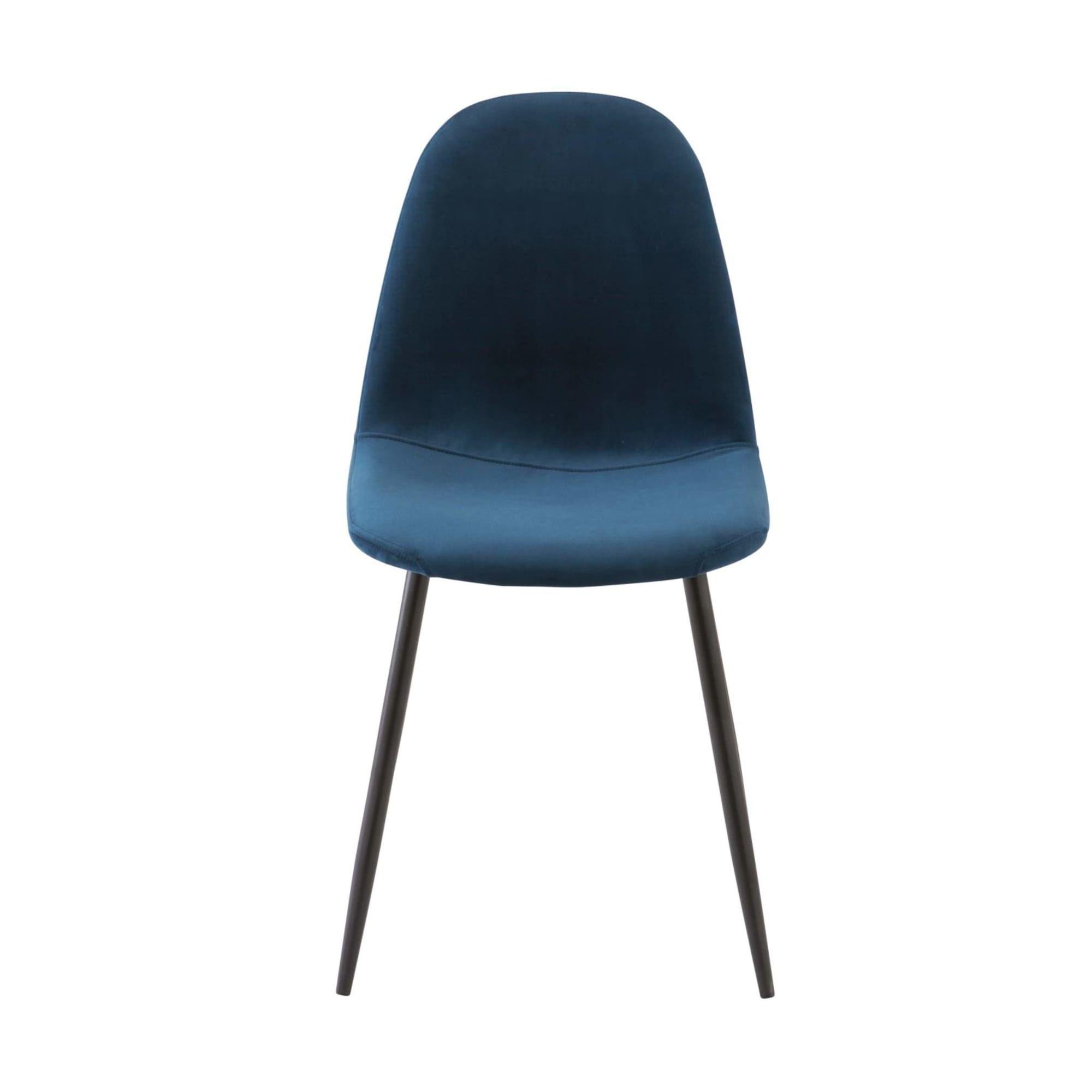 Chaise Style Scandinave En Velours Bleu Chaise Style Scandinave Velours Bleu Salle A Manger Bleue