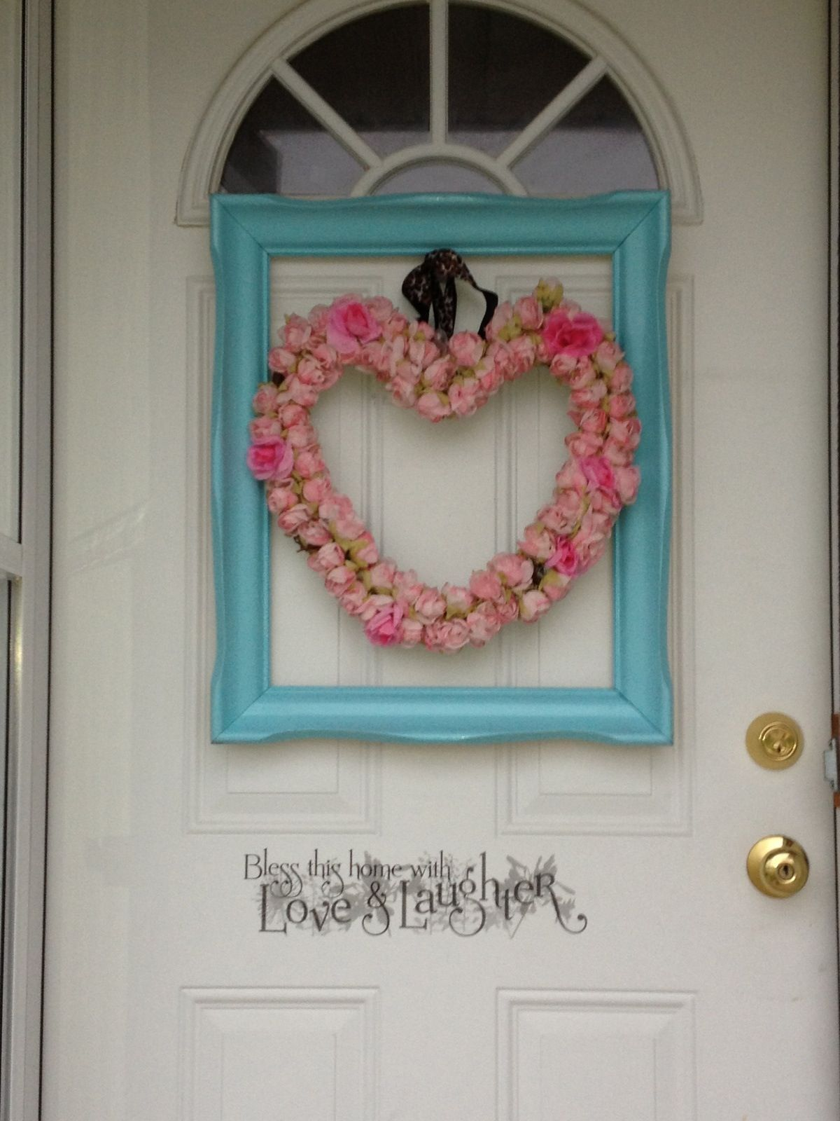 Shabby pink heart wreath & blue picture frame