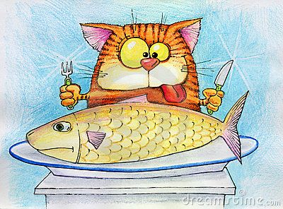 Cartoon of a cat eating a fish seafood in cat food the for Moving fish for cats