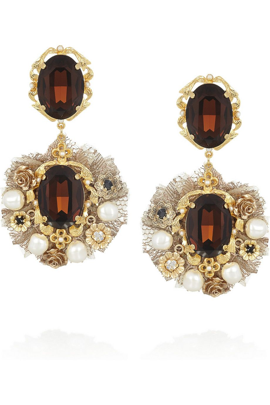 dolce & gabbana | gold-tone crystal and faux pearl clip earrings
