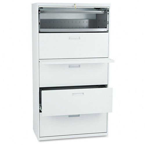 HON : 500 Series Five-Drawer Lateral File, 36w x67h x19-1/4h, Light Gray -:- Sold as 2 Packs of - 1 - / - Total of 2 Each by Hon. $1705.98. HON : 500 Series Five-Drawer Lateral File, 36w x67h x19-1/4h, Light Gray  Side-to-side rails hold letter or legal size hanging file folders. Lock located in center of unit locks entire drawer more securely. Leveling glides adjust for uneven floors. Global Product Type: File Cabinets; File Cabinet Type: Lateral; File Size Format: L...