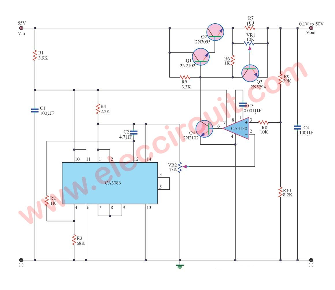 Variable Power Supply Circuit 0 50v At 3a With Pcb Eleccircuit Com Power Supply Circuit Power Supply Circuit
