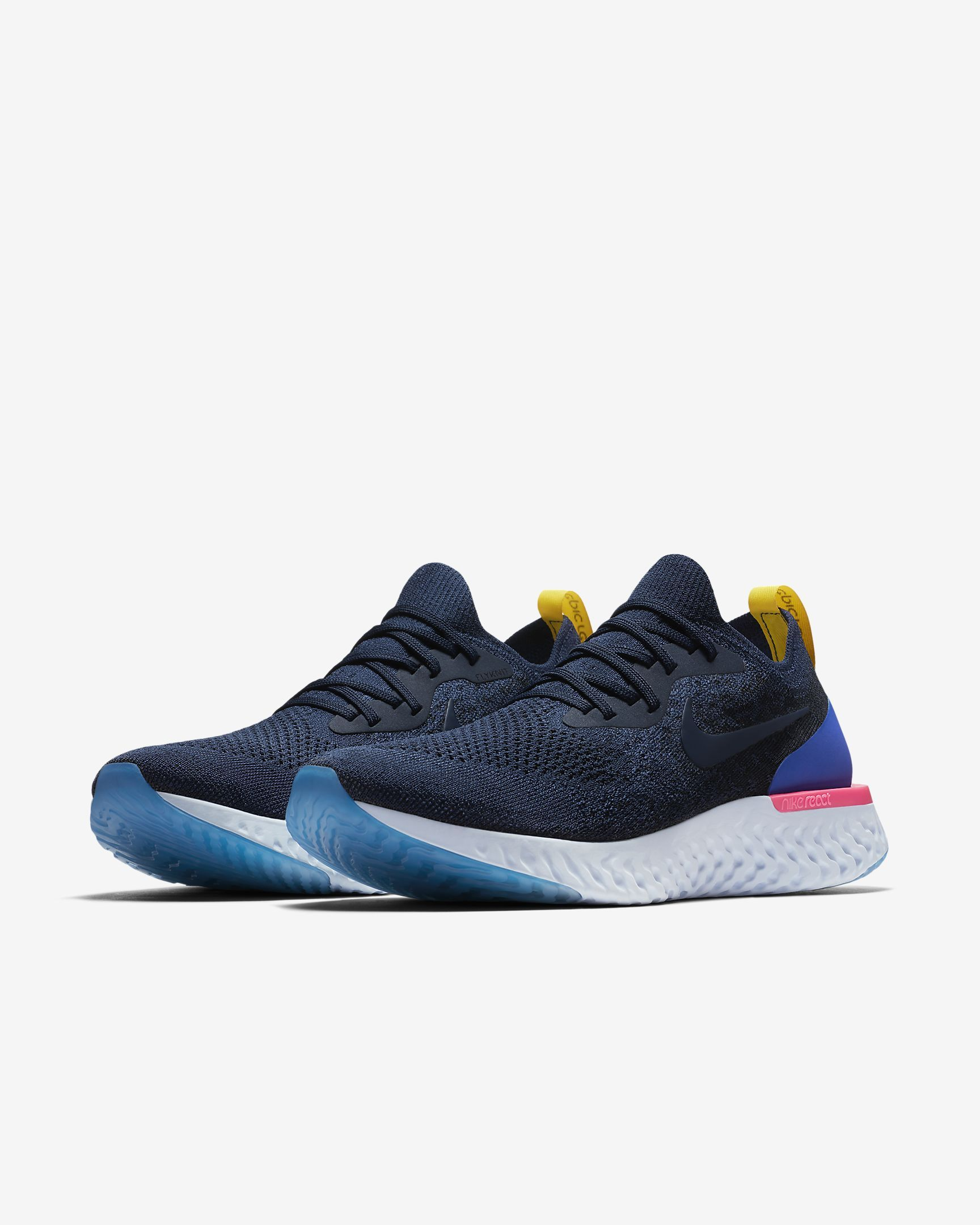 Men's Nike Epic React Flyknit Running Shoes Blue Glow/Photo