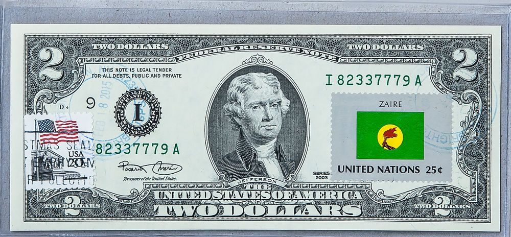 $2 DOLLARS 2013 STAMP CANCEL FLAG OF UN FROM MEXICO LUCKY MONEY UNIQUE  $125