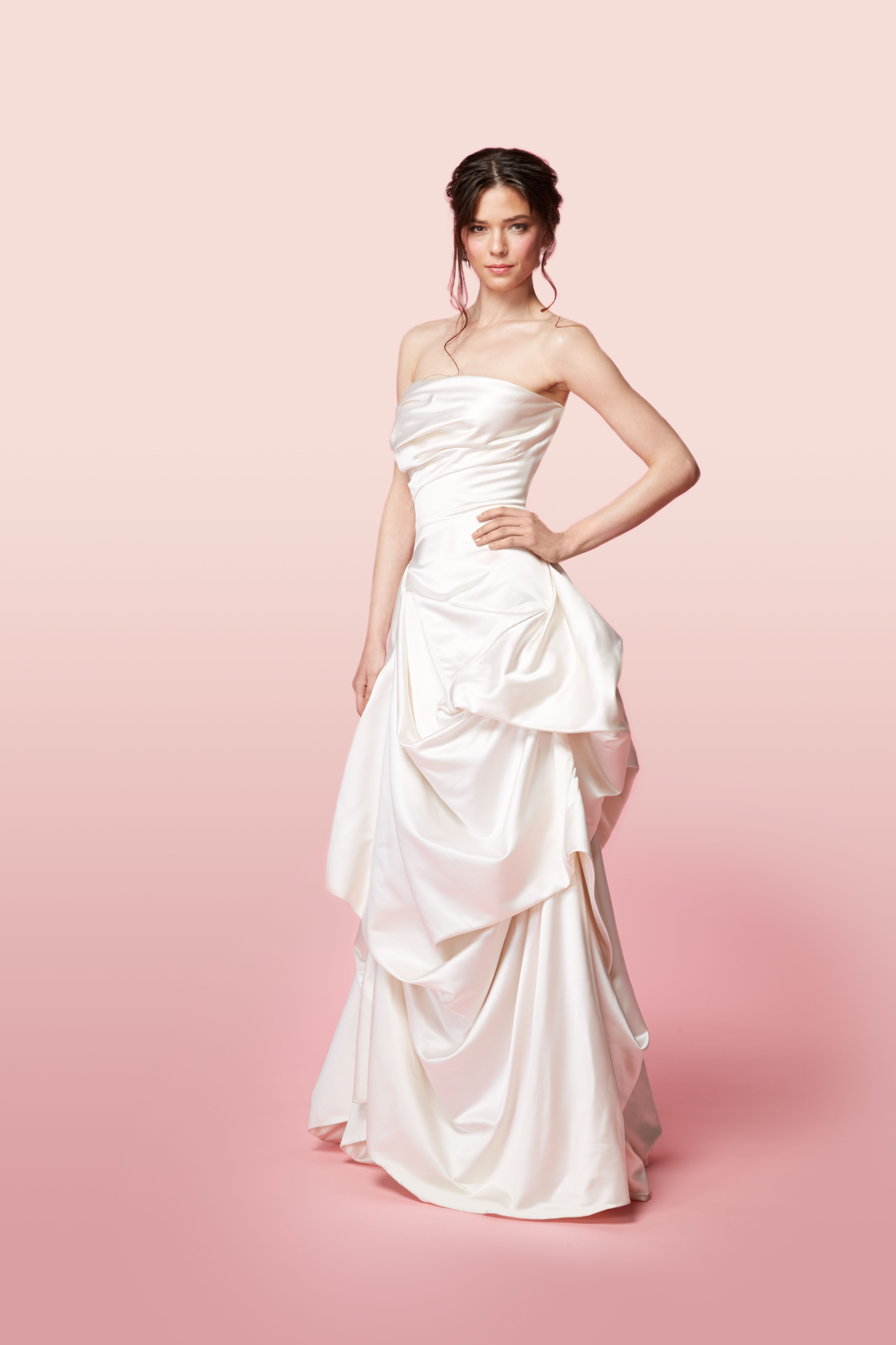 Vivienne Westwood Made-To-Order Long Capon Dress In Ivory Silk Duche ...