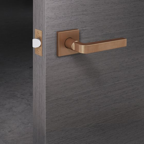 Door hardware lever handle set stunning matt copper bronze shade on grey chipperfield fsb - Fsb pocket door hardware ...