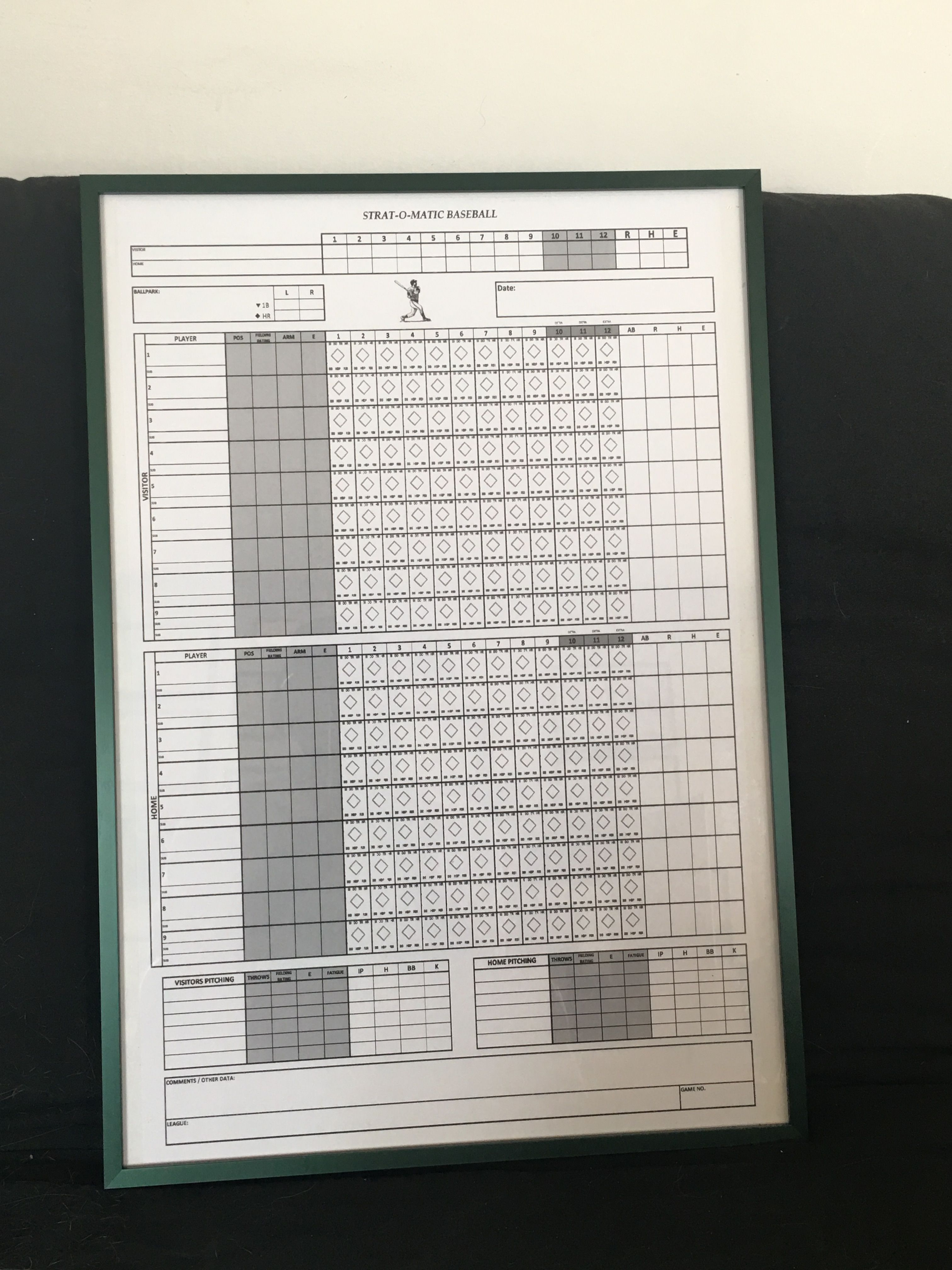 This Is An Enlarged Strat O Matic Baseball Score Sheet That A Local