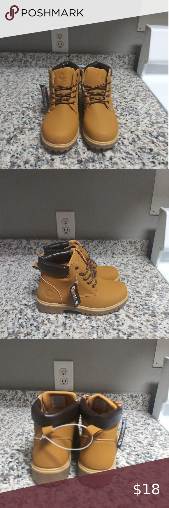 Brand New akademiks work boots size 5 US Boys Brand New Akademiks work boots size 5 Us Boys. Nice looking durable boots! Questions please let me know and thank you for shopping my closet. Akademiks Shoes Boots