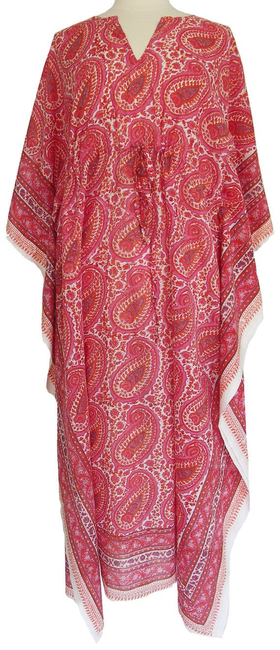 799b643b031 Lounge in leisure in this fabulous lightweight cotton kaftan. The kaftans  are hand block printed with a matching border down each side and along the