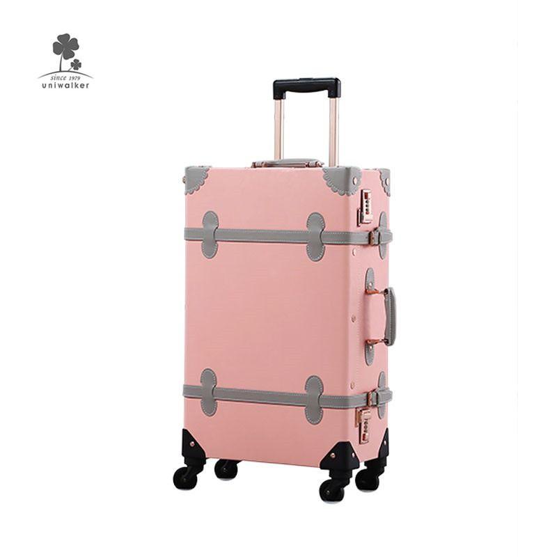 Uniwalker Pu Leather Cabin Size Rolling Vintage Luggage Set Luggage Sets Cute Vintage Luggage Girls Suitcase