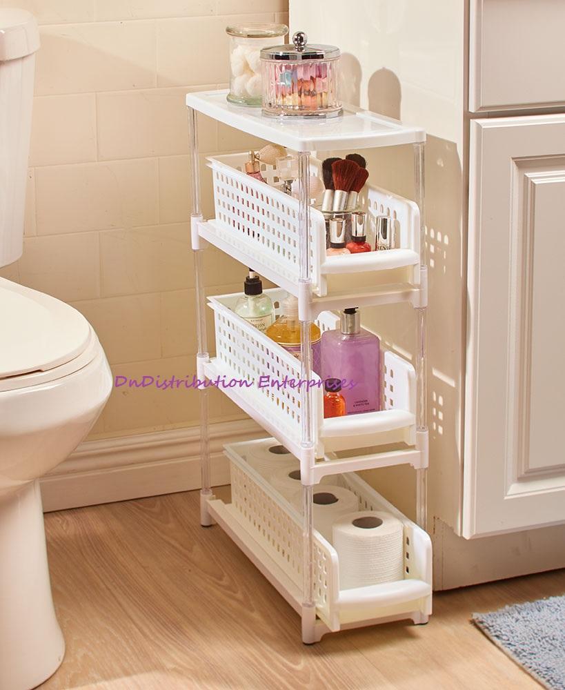 Slim Storage Rack 3 Or 5 Tier Sliding Drawers Space Saving Kitchen Space Saving Kitchen Diy Bathroom Storage Bathroom Organisation