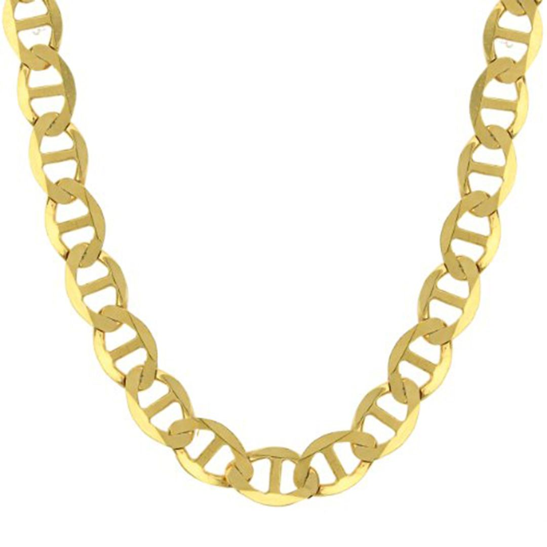 3aeb035f017a2 14K Yellow Gold Chain Flat Mariner Gucci Necklace Men Women 1.5mm ...