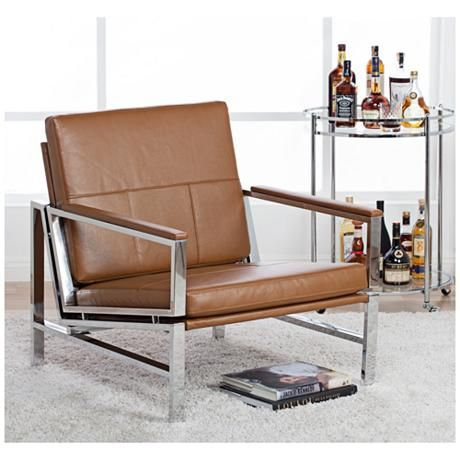 Atlas Caramel Bonded Leather Accent Chair