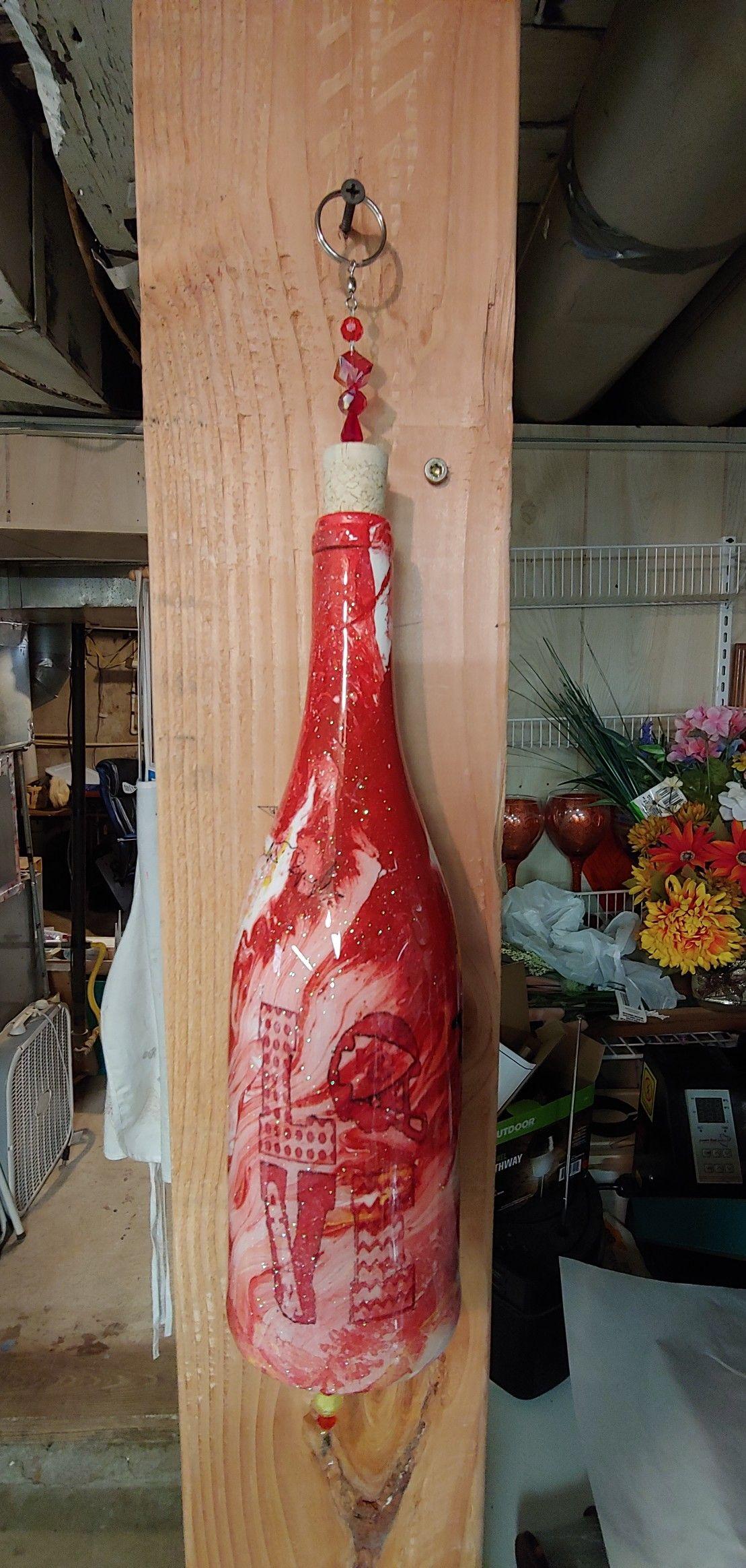 Pin By Tina Niemi On T S Wine Bottle Wind Chimes And More Wine Bottle Wind Chimes Bottles Decoration Wine Bottle