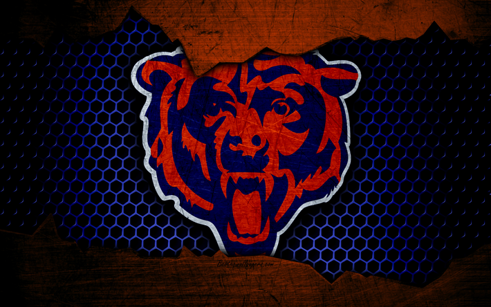 Download wallpapers Chicago Bears, 4k, logo, NFL, american